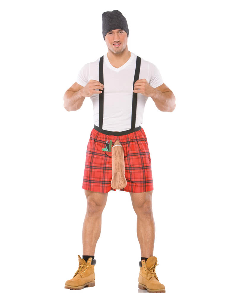 Sexy Lumberjack Boxer Shorts with Woodpecker SM  sc 1 st  Horror-Shop.com & Sexy Lumberjack Boxer Shorts with Woodpecker SM Funny Men`s Costumes ...