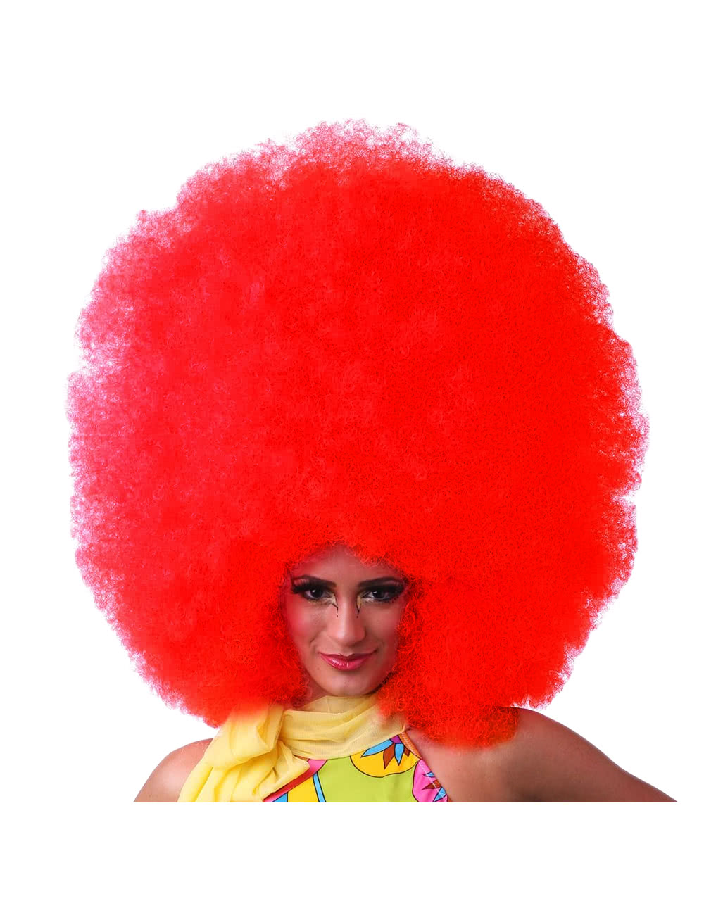 afro wig xxl red carnival accessory