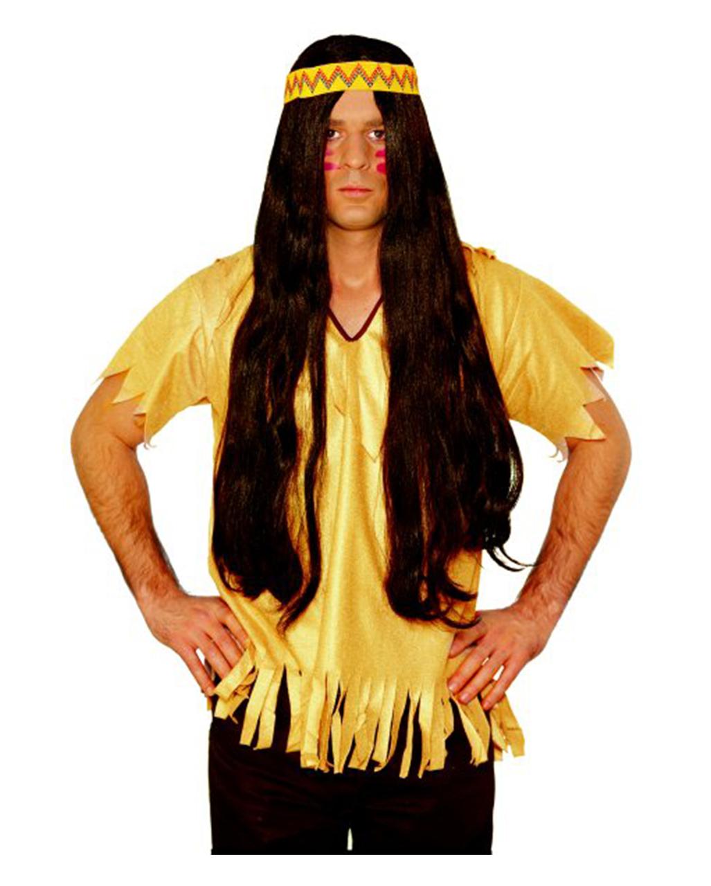 Indianer Perucke Mit Haarband Braun Kostumzubehor Horror Shop Com