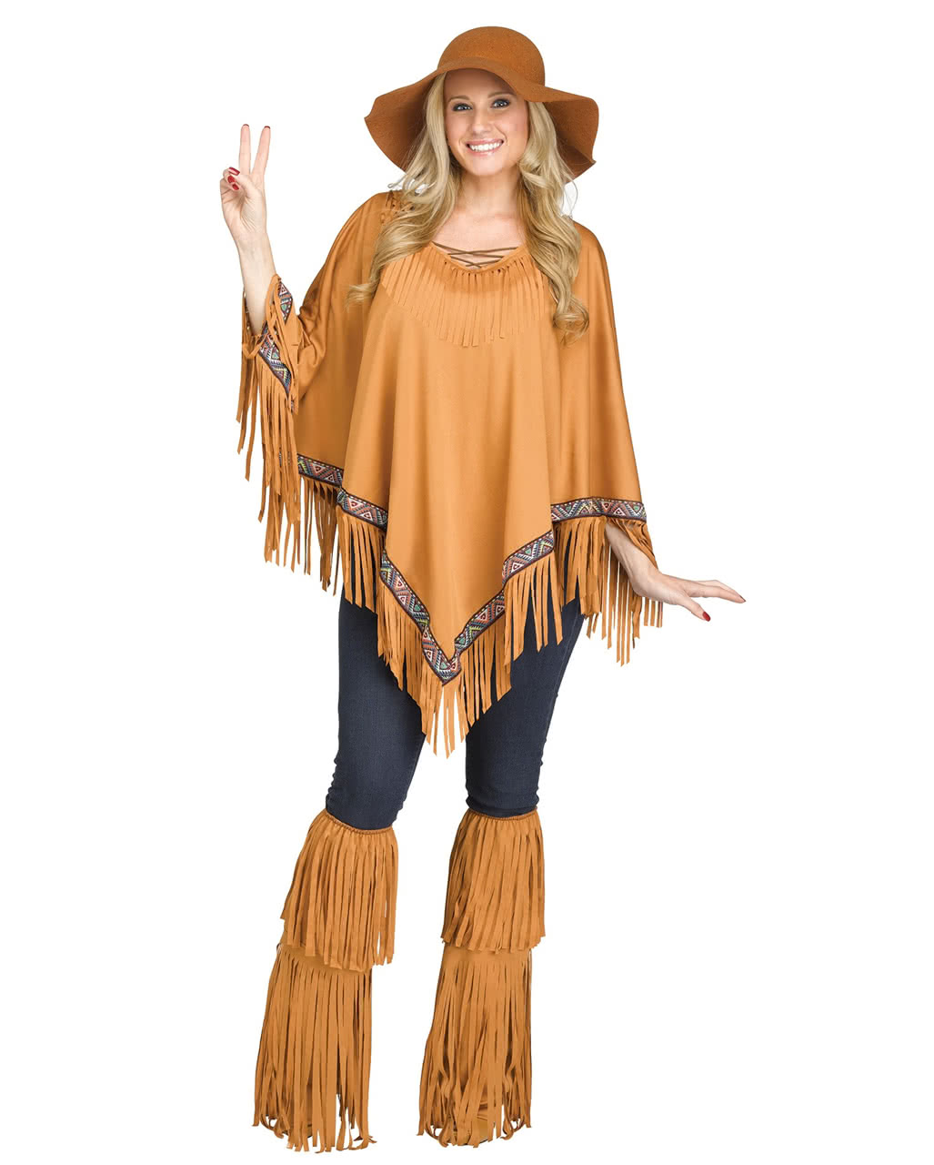Indianerin Poncho Braun Mix Match Kostum Horror Shop Com