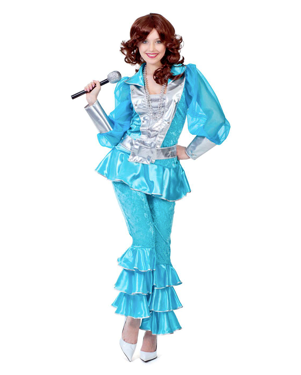 Mama Mia 70s Costume Deluxe Turquoise For Theme Parties Horror