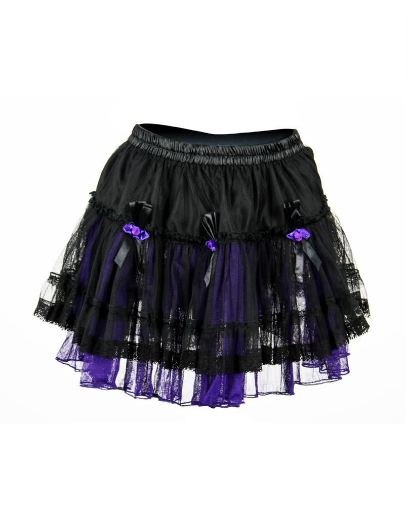 6fbfe11172 Mini Skirt Tulle black-purple with roses | Gothic Clothing | horror-shop.com