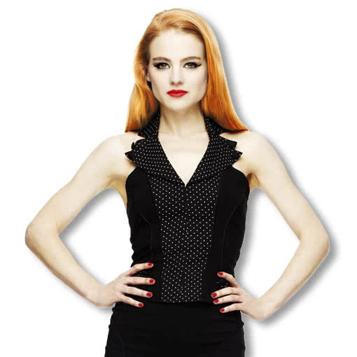 255208ca4efa4 Polka Dot Halter Top Rockabilly Pinup Gothic Fashion