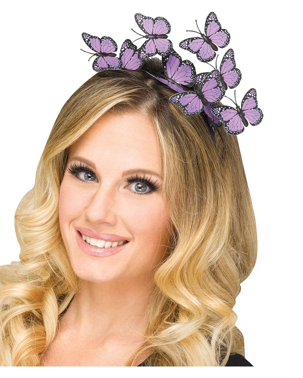 Schmetterlings Haarreifen Lila Als Kostumzubehor Horror Shop Com