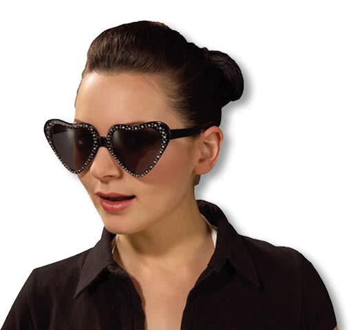 Horror-Shop Schwarze Herz Sonnenbrille mit Glitzerrand RPFHa