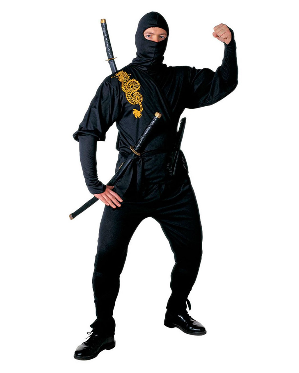 Black Ninja Costume Golden Dragon Gr. L | Ninja Costume | horror-shop.com  sc 1 st  Horror-Shop.com & Black Ninja Costume Golden Dragon Gr. L | Ninja Costume | horror ...