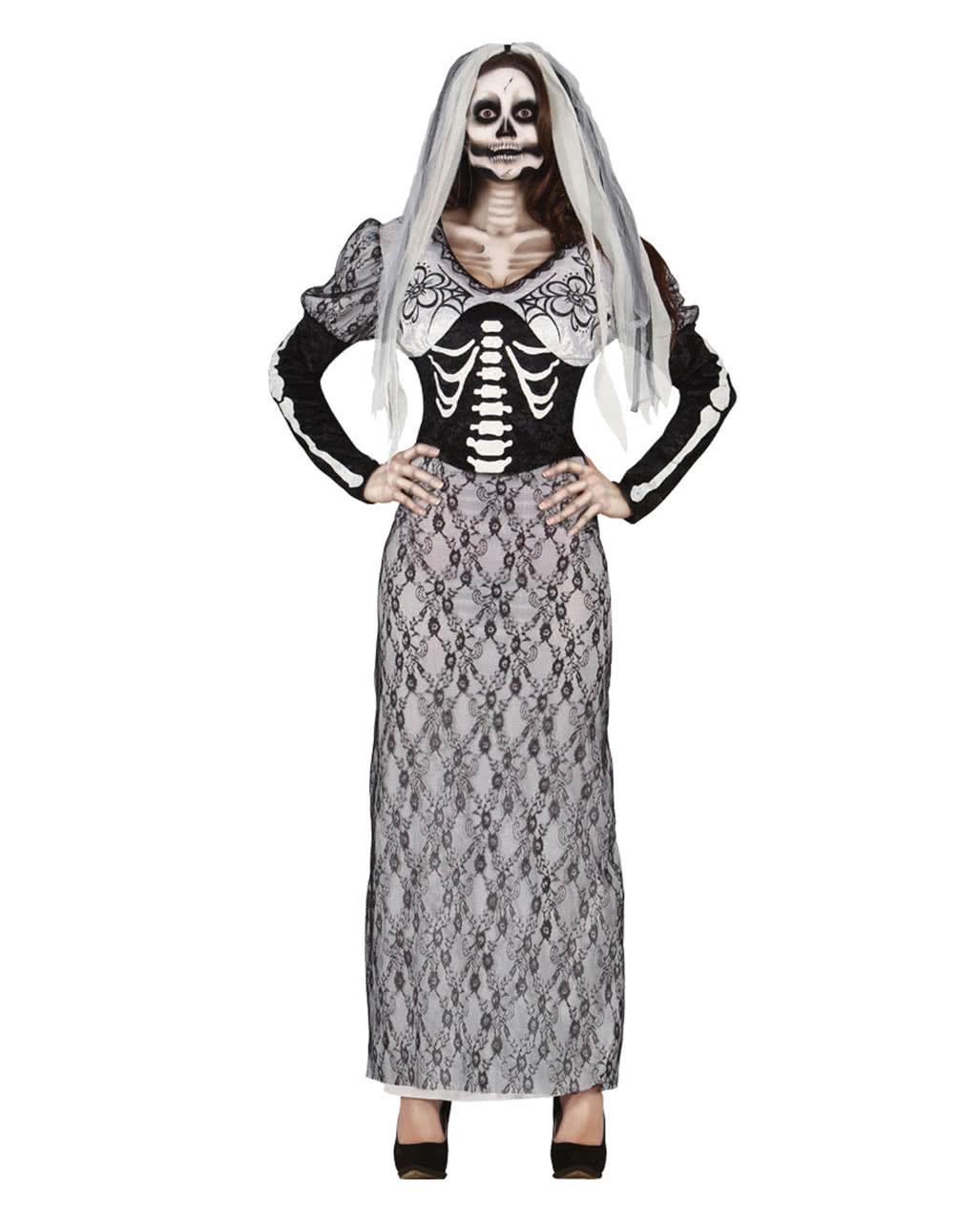 Skelett Braut Kostüm | Brautkleid für Halloween | Horror-Shop.com