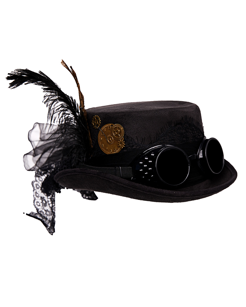 Steampunk Hat With Goggles Black as costume accessory  86436ad8ff3b