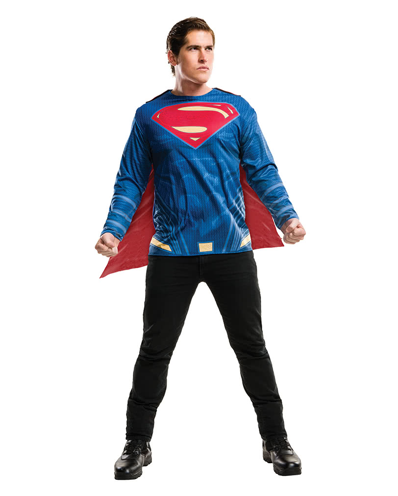 Superman Shirt With Cape For Adults  sc 1 st  Horror-Shop.com & Superman Shirt With Cape For Adults | Batman vs. Batman Superman T ...
