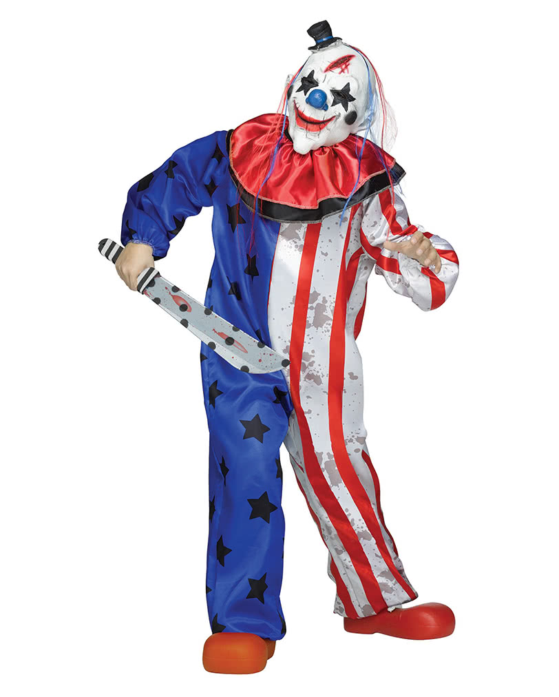 horror circus clown costume with mask for horror shop