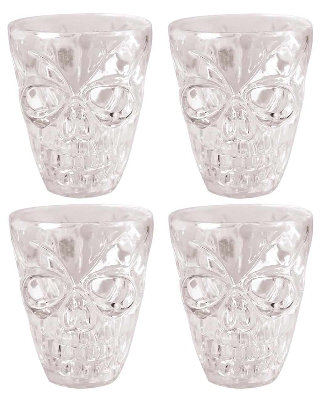 Totenkopf Shotglas 4 Stück | Skull Schnapsgläser | Horror-Shop.com