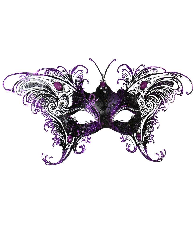 Venezianische Schmetterlingsmaske Schwarz-Violett | Zarte Augenmaske ...
