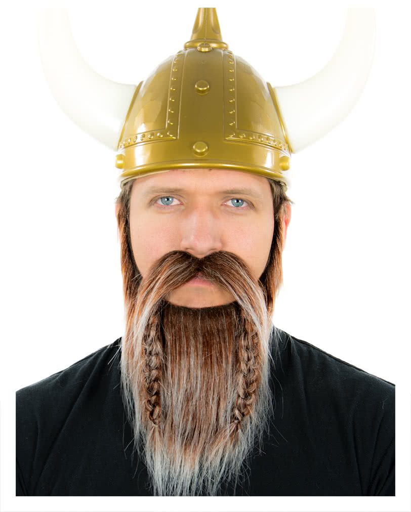 viking beard brown-white heather | realistic beard to stick | horror
