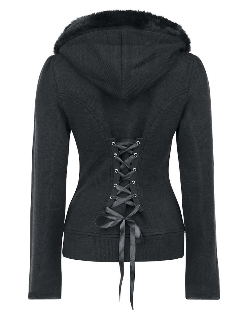Hooded sweater black Black sweater with corset lacing | horror ...