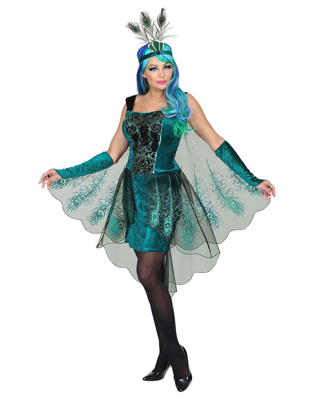 Pfauen Fee Kostüm Mit Kopfschmuck Märchenkostüm Horror Shopcom