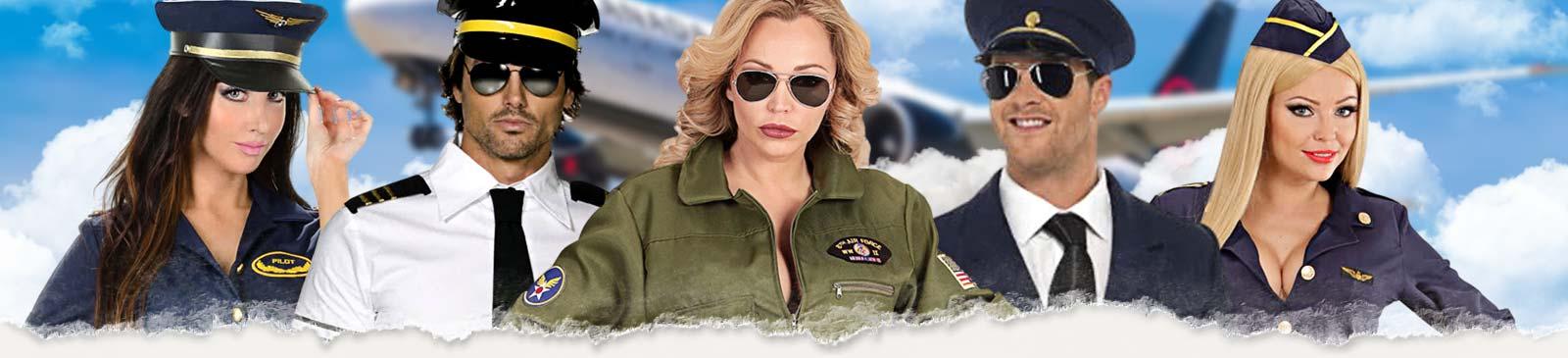 Stewardess Kostüm & Pilot Kostüm