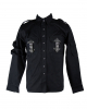 Schwarzes Gothic Hemd mit Riemen & Schnallen