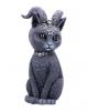 Okkulte Katzenfigur mit Ziegenhörner 26,5cm