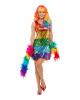Regenbogen Pailletten Glitter Kleid
