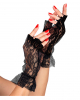 80ies Short Fingerless Lace Gloves Black