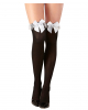 Black nylons with white lace and ribbons