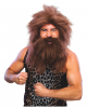Stone Age wig with beard brown