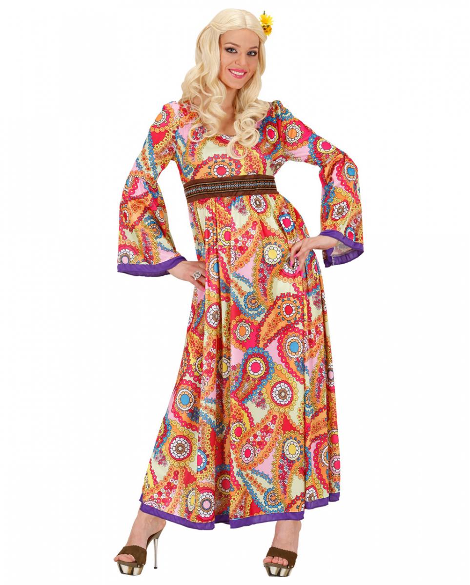 Details zu Woodstock Hippie Maxi Kleid - 18er Jahre Damen Kostüm