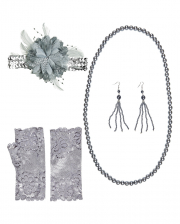 20's Flapper Costume Set Silver 6 Pcs