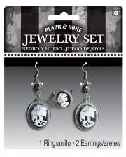 3-piece Skeleton Cameo Jewelry Set