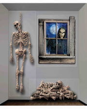 3-tlg. Halloween Skelett Wandfolie