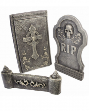 3-piece Gravestone Set With Skull & Cross