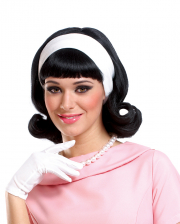50s Wig Black With Hairband