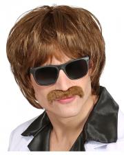 60's Mod Shag Wig With Moustache