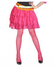 80ies Mini Rock aus Spitze - Neon Pink
