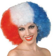 Afro Curly Wig Red/white/blue