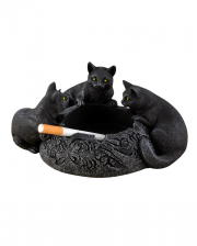 Ashtray With 3 Black Cats