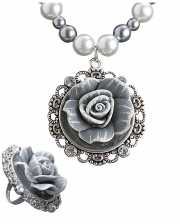 Baroque Pearl Necklace & Ring With Rose
