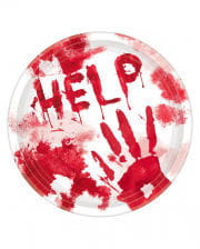 "Bloody Halloween Paper Plate ""Help"" 10 pcs."