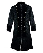 Brocade Pirate Coat With Velvet Black
