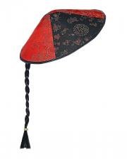Chinesen Hut mit Zopf