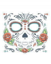 Day of the Dead Skull Face Tattoo