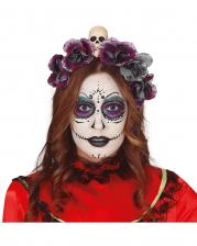 Dia de los Muertos Totenkopf Haarreif mit Blumen