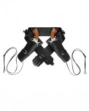 Double Western Gun Holder Black