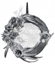 Eleganter Halloween Türkranz mit Spinnen & Rosen