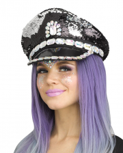 Festival Peaked Cap With Sequins Black