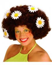 Flowerpower Afro Perücke Braun