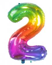 Folienballon Zahl 2 Regenbogen