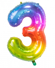 Foil Balloon Number 3 Rainbow