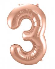 Foil Balloon Number 3 Rose Gold