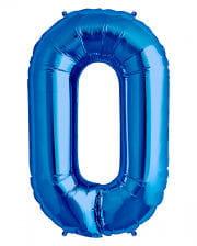 Folienballon Zahl 0 blau